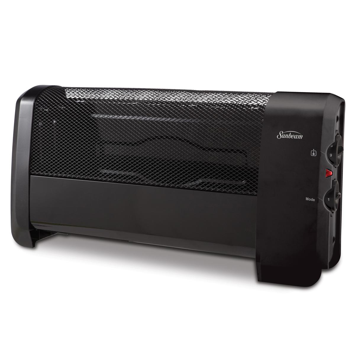 Sunbeam 174 Low Profile Heater With Manual Controls Black