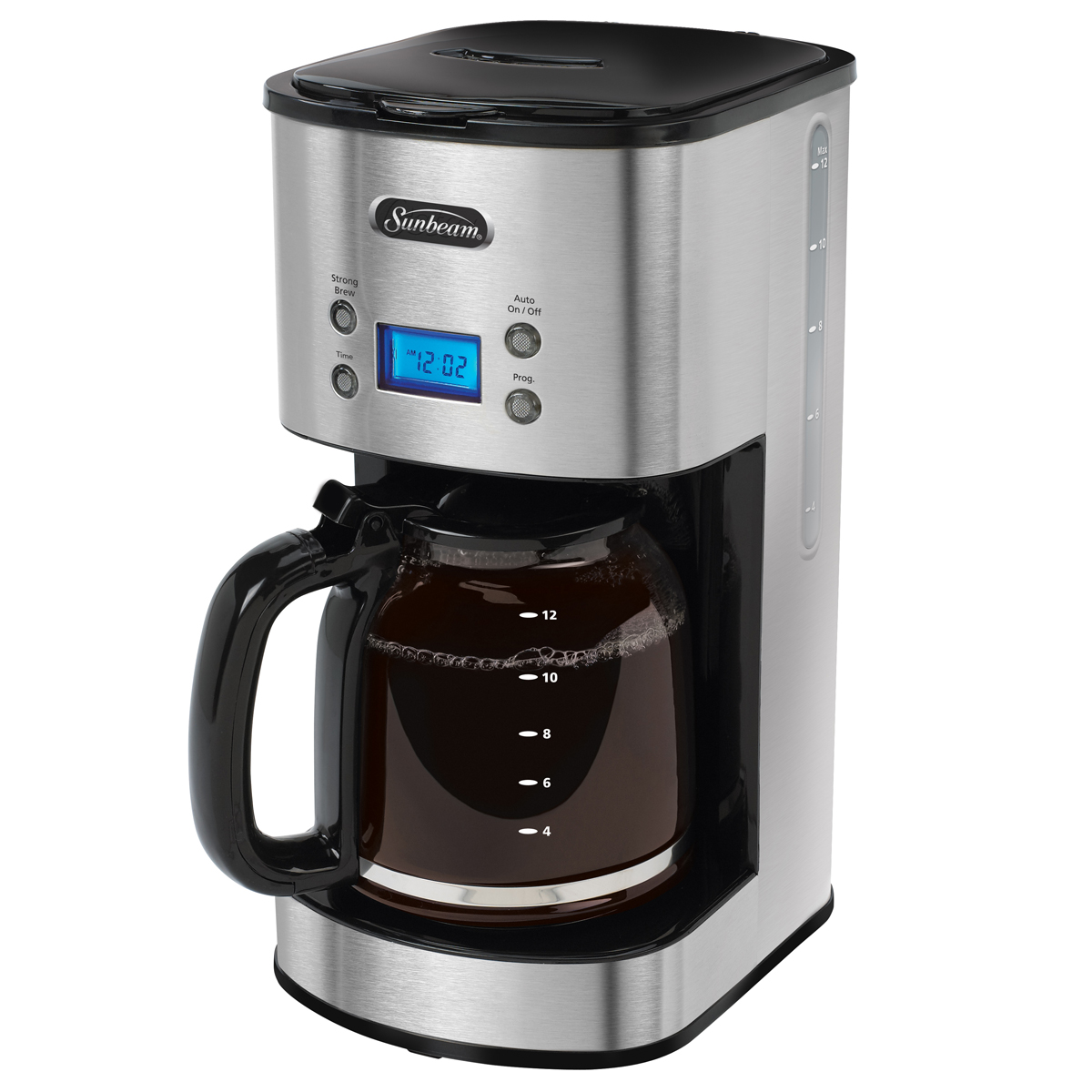 sunbeam 12 cup programmable coffeemaker stainless steel. Black Bedroom Furniture Sets. Home Design Ideas