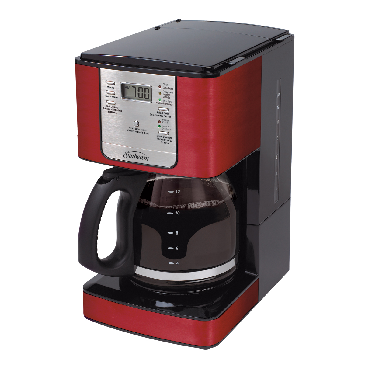Cafetiere Sunbeam 12 tasses programmable, Rouge BVSBJWX27JR-033 Sunbeam Canada
